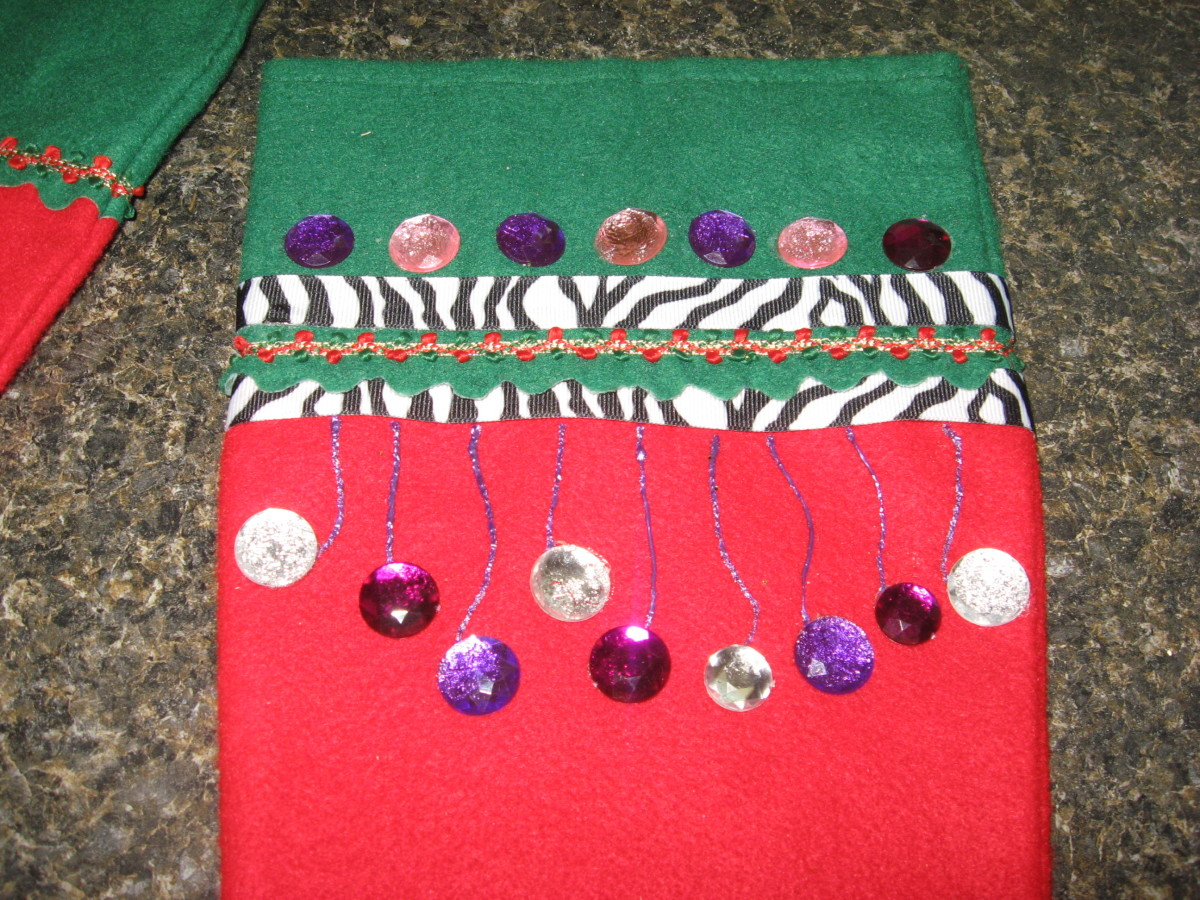 zebra stocking with stones