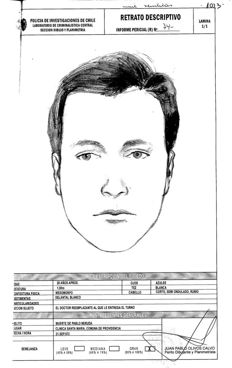 Dr. Draper changed his testimony. He gave this sketch of the CIA agent who posed as a doctor to give Pablo Neruda the deadly injection. He looks very familiar and I know him to be in Texas.
