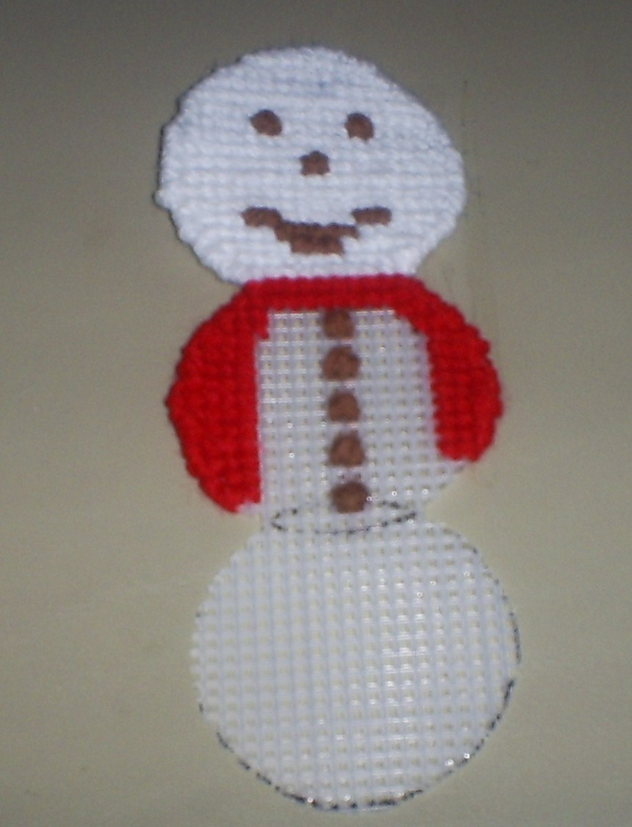 Here I have stitched on the other side of the snowman's scarf.