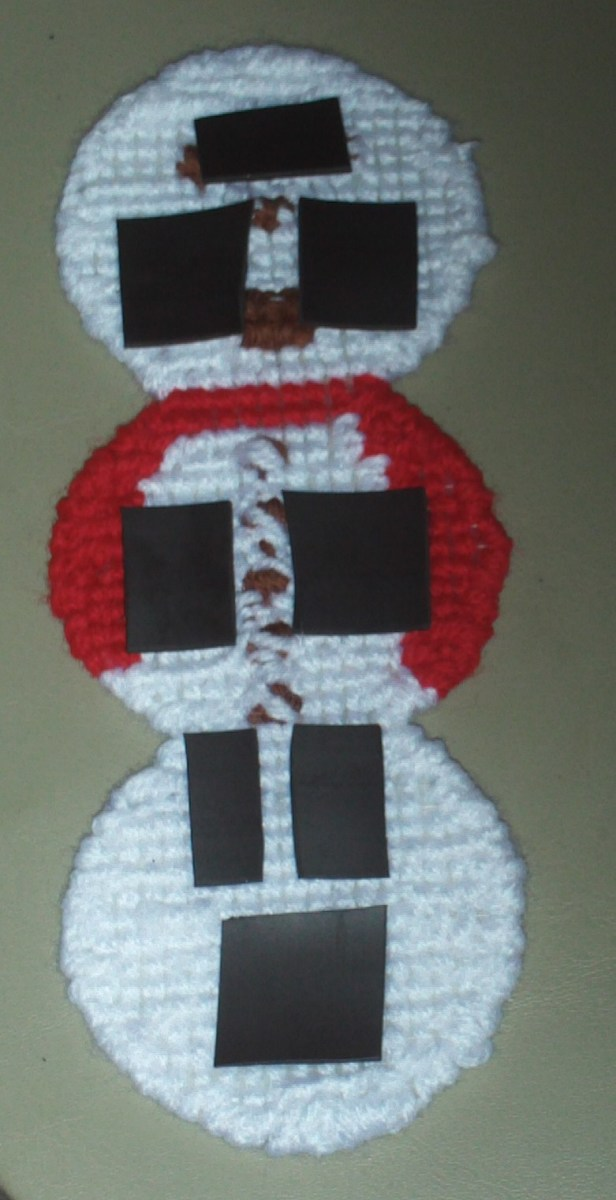 Here I have placed the adhesive magnets to the back of the snowman.