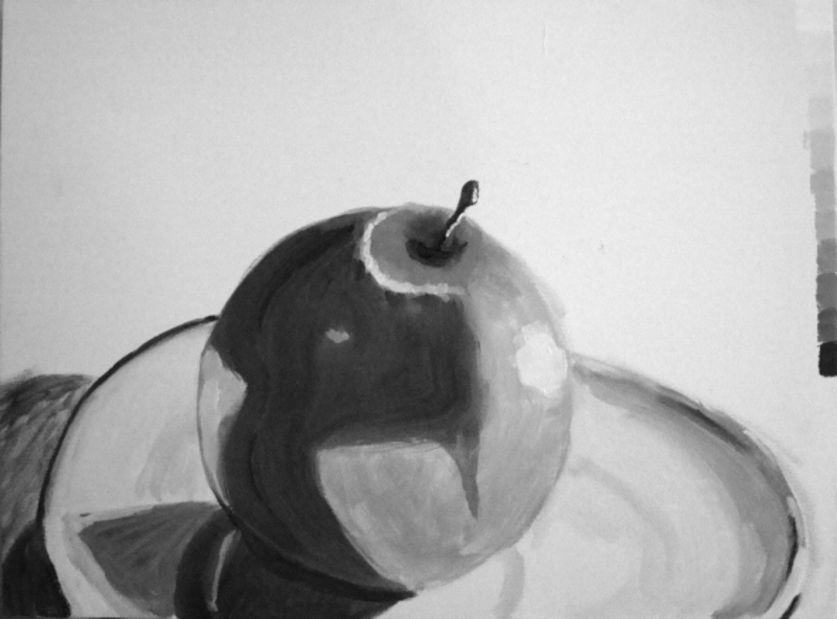 A student's interpretation of the same apple.  What the eye sees is sometimes very different than what a camera can capture.  Notice the scale painted on the right side of the canvas.  It looks pretty good for a first attempt.