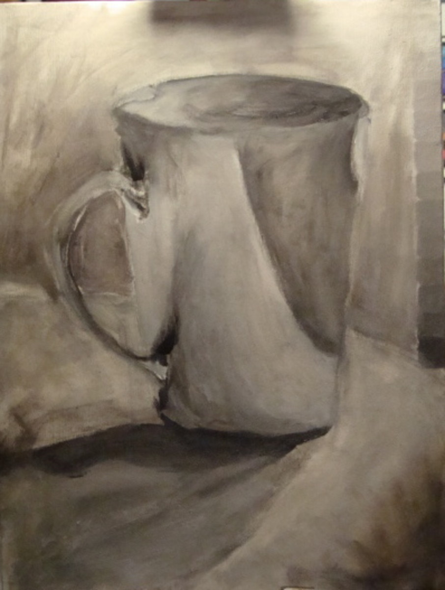 The same cup painted in Grey Scale.  Notice the scale which is painted on the right side of the canvas.  The value scale is very heavy in the mid-tones and so is the painting.  Make sure your value scale depicts a full range from light to dark before
