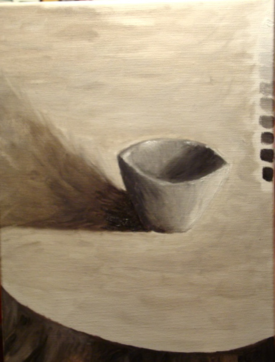 Another student canvas.  The value scale on the right side of the canvas is almost accurate.  There is quite a jump from mid-tones to dark values.  Though, the final painting of the cup has a lot of good contrast and is quite successful.