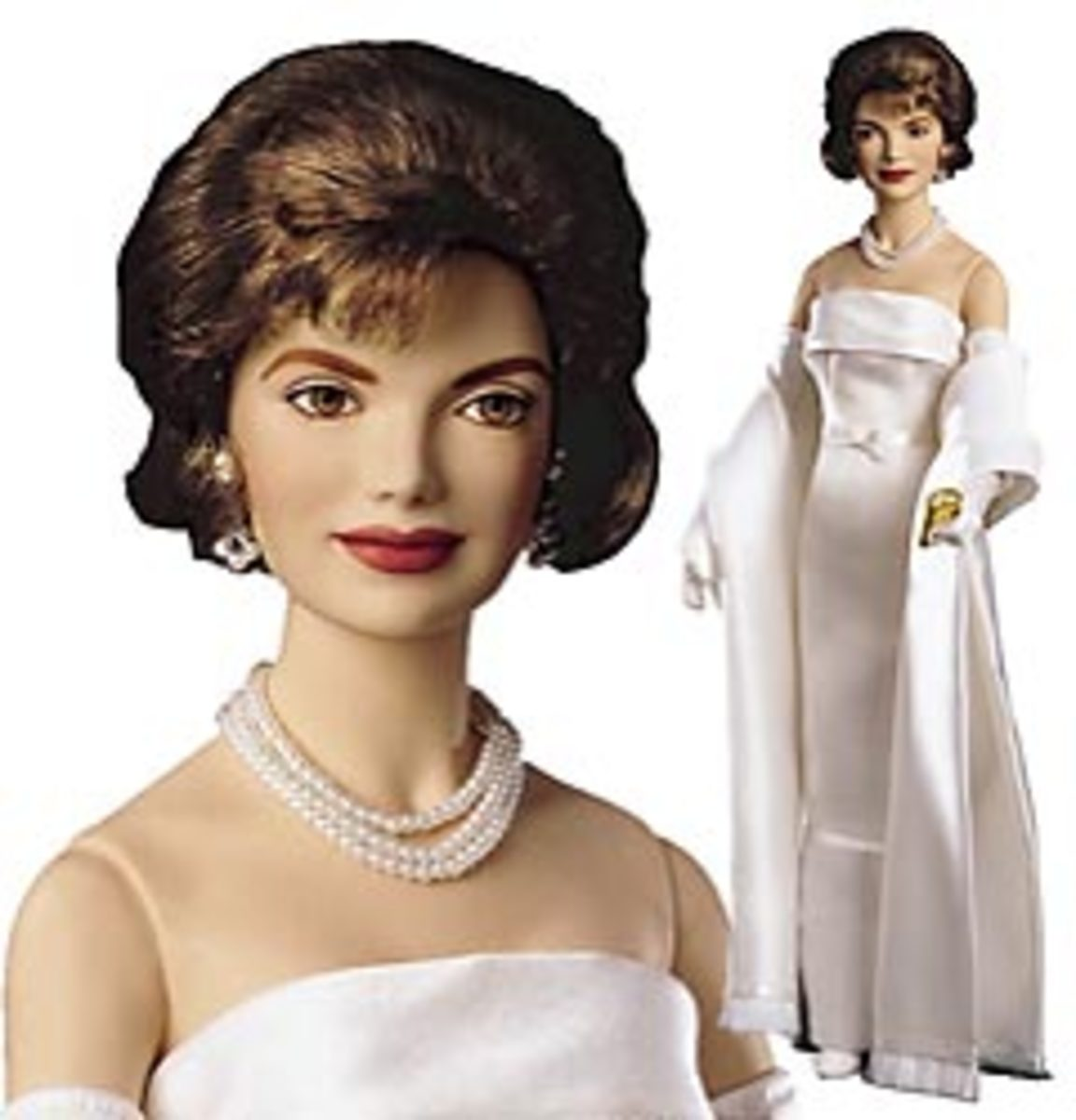 Faux 3-strand pearl necklace on Franklin Mint porcelain doll - photo courtesy of cellinifinegifts.com