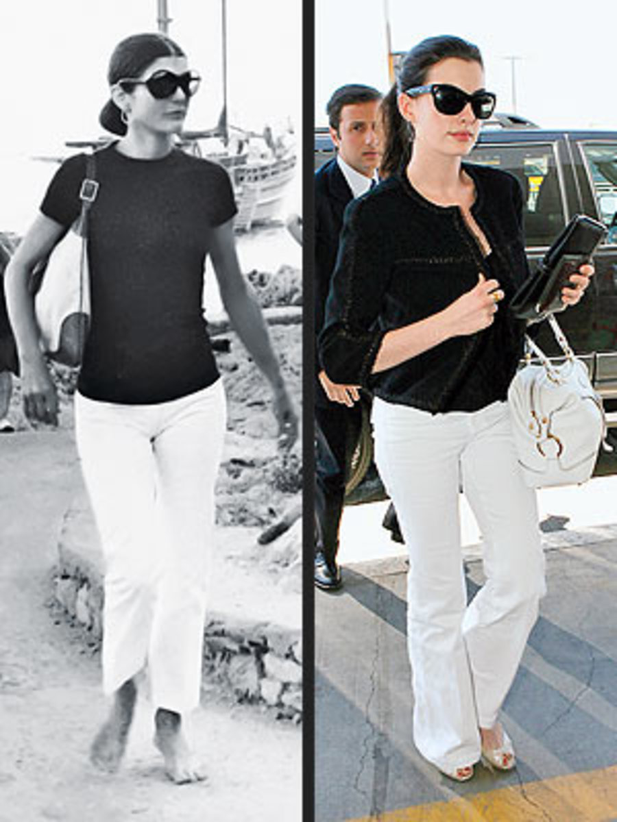 photo courtesy of peoplestylewatch.com Jackie Kennedy and Anne Hathway - decades apart - same fashion statement!