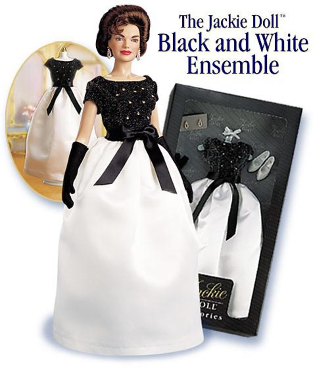 Oleg Cassini Designer - Franklin Mint Black and White Gown - photo courtesy of cellinifinegifts.com
