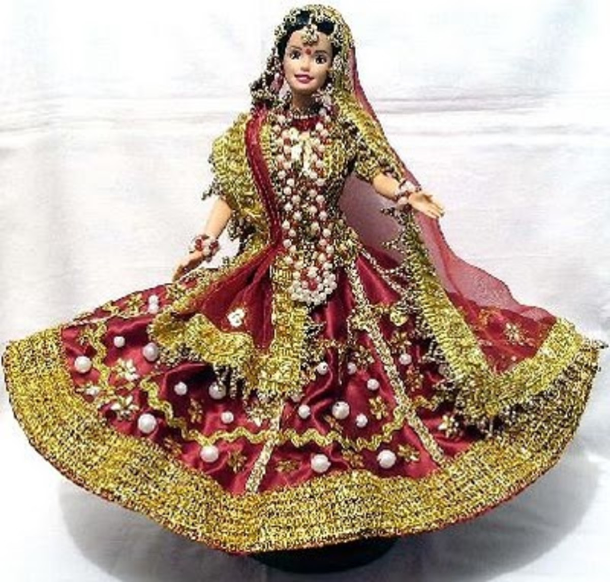 Barbie Doll in Indian Traditional Dress with Gold Veil