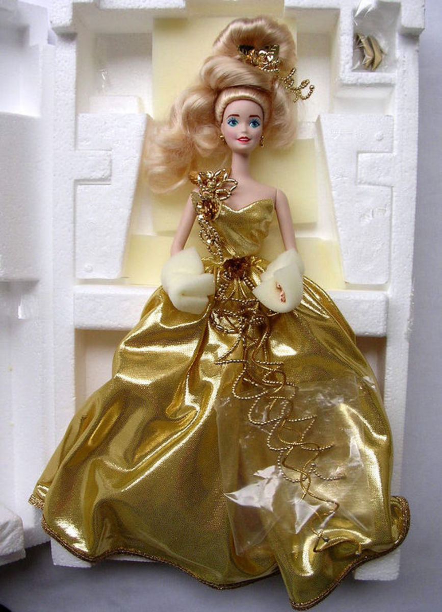 Barbie Doll in gold glamor ball gown