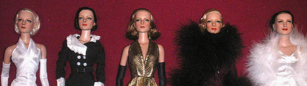 navsikand.com Dolls of 1930's icons Jean Harlow, Joan Crawford, Greta Garbo, Marlene Dietrich & Norma Shearer.