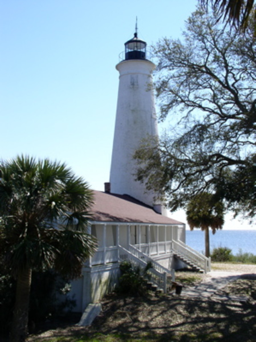 St. Marks Lighthouse Showing Attached Keeper's Quarters and Apalachee Bay in Distance