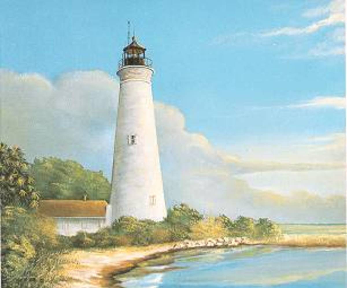 Painting by William Trotter and reproduced in book Florida Lighthouses by Kevin McCarthy