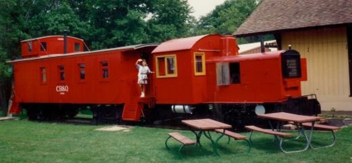 Old railroad cars at Walnut Grove Pioneer Village