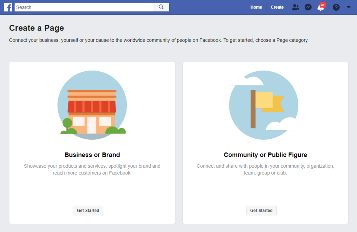 ▲ Facebook has simplified the Page building process with only 2 categories