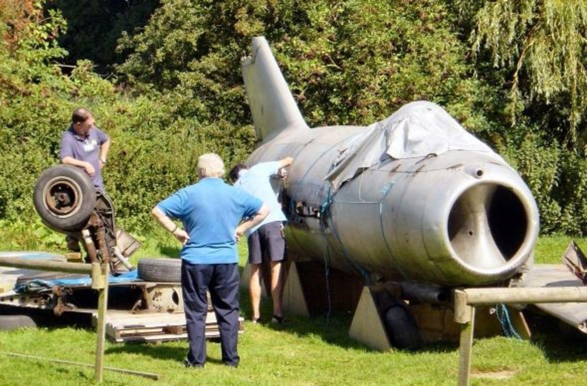 Plane under repair at Flixton air museum
