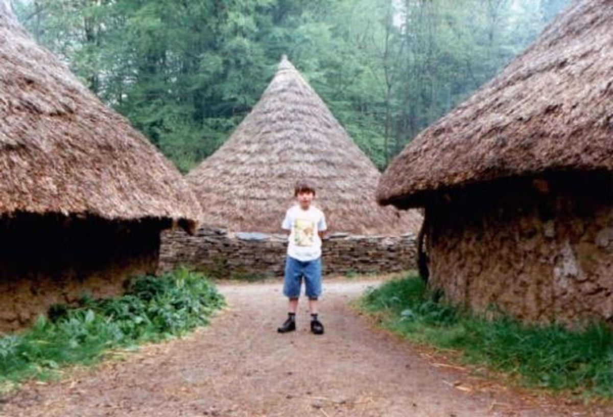 Reconstruction of Round Houses at St Fagan Historical Village, South Wales.