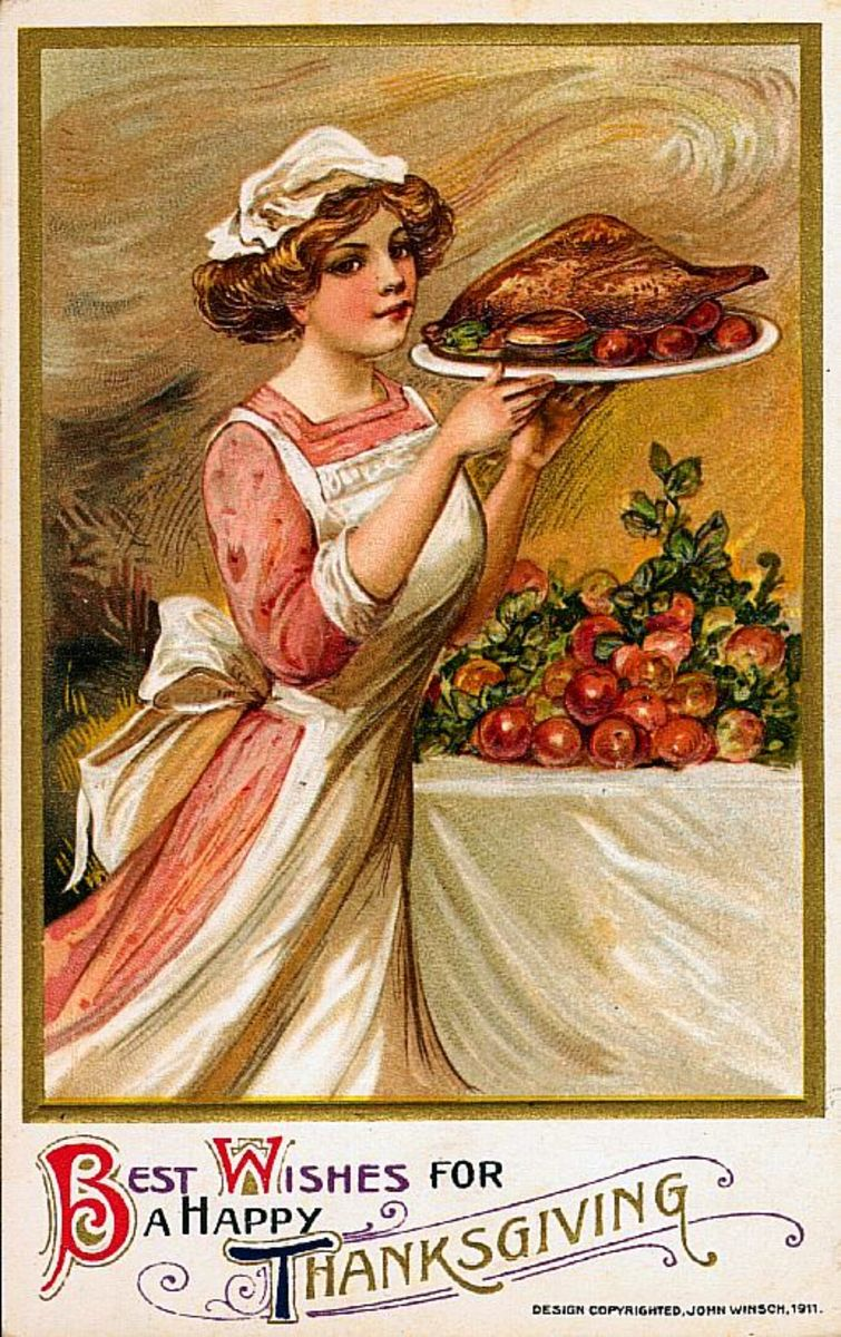 Vintage Thanksgiving Graphic from old greeting card (1911)
