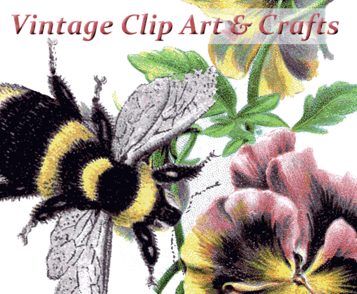 Vintage Clip Art Graphics Collage