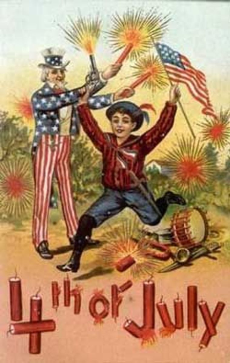 Classic vintage july 4 clip art with flag, fireworks and uncle Sam