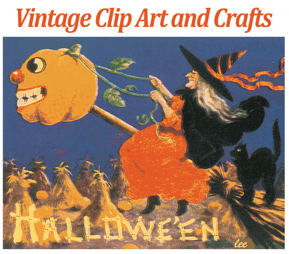 Vintage Halloween Clip Art card front
