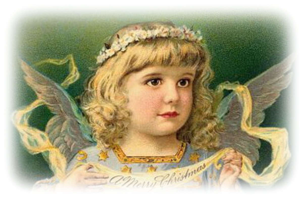 Free vintage Christmas angel clip art: Angel holding a Merry Christmas banner