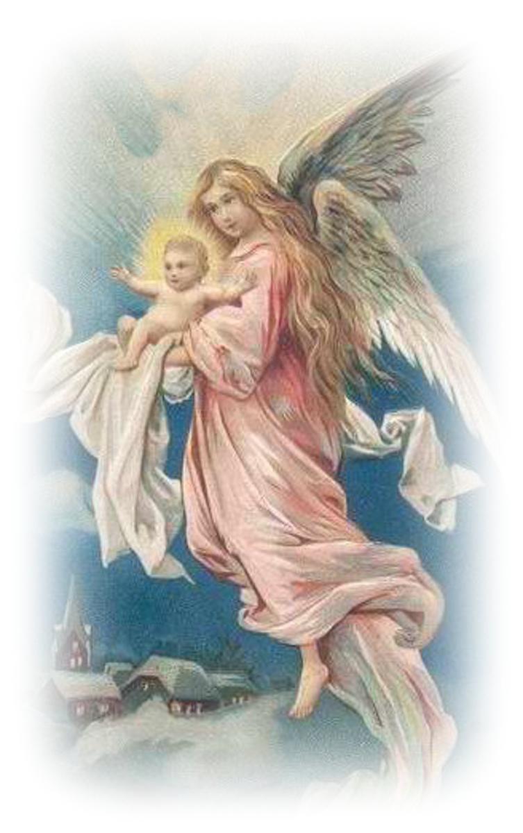 Vintage Natal anjo segurando o Menino Jesus
