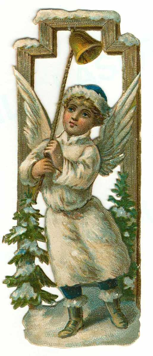 Vintage little boy Christmas angel ringing a bell