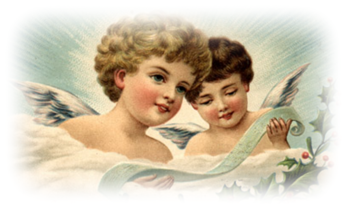 Free vintage Christmas angel clip art: Two angels reading a Christmas scroll