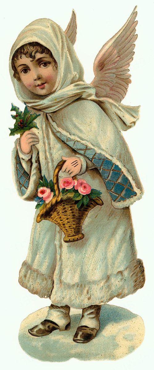Vintage Christmas angel dressed in ivory coat with basket of flowers