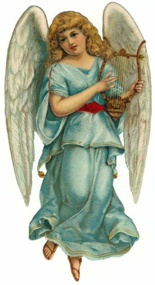 Vintage Christmas angel with harp