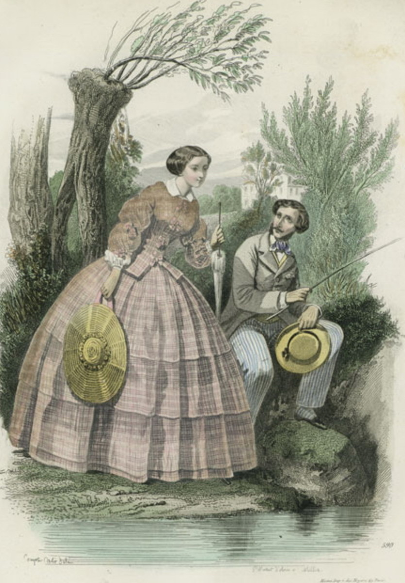 1878: Victorian man and woman fishing in lake