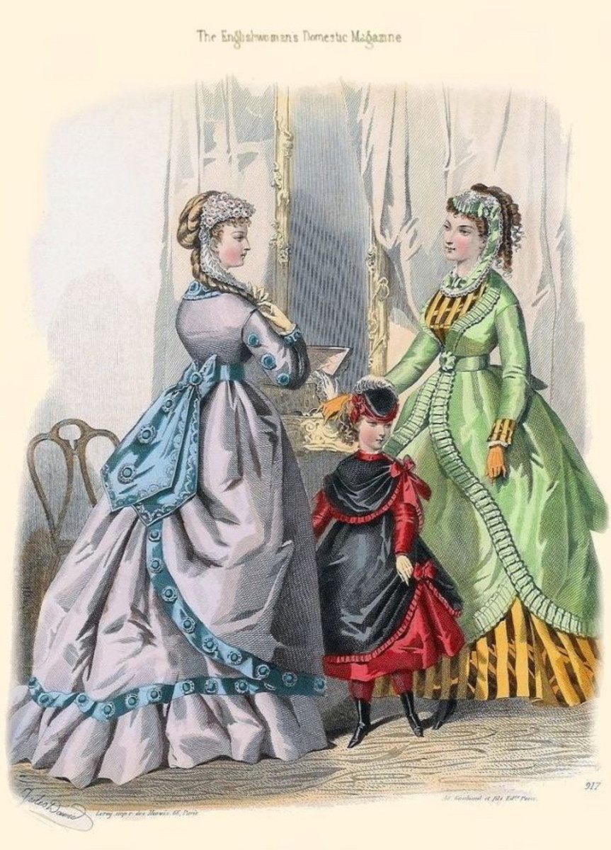 1869: Victorian womens and girls dress fashions from Englishwoman's Domestic Magazine