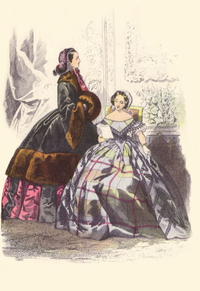 1852: Coat with fur trim and muff, and silk plaid dress
