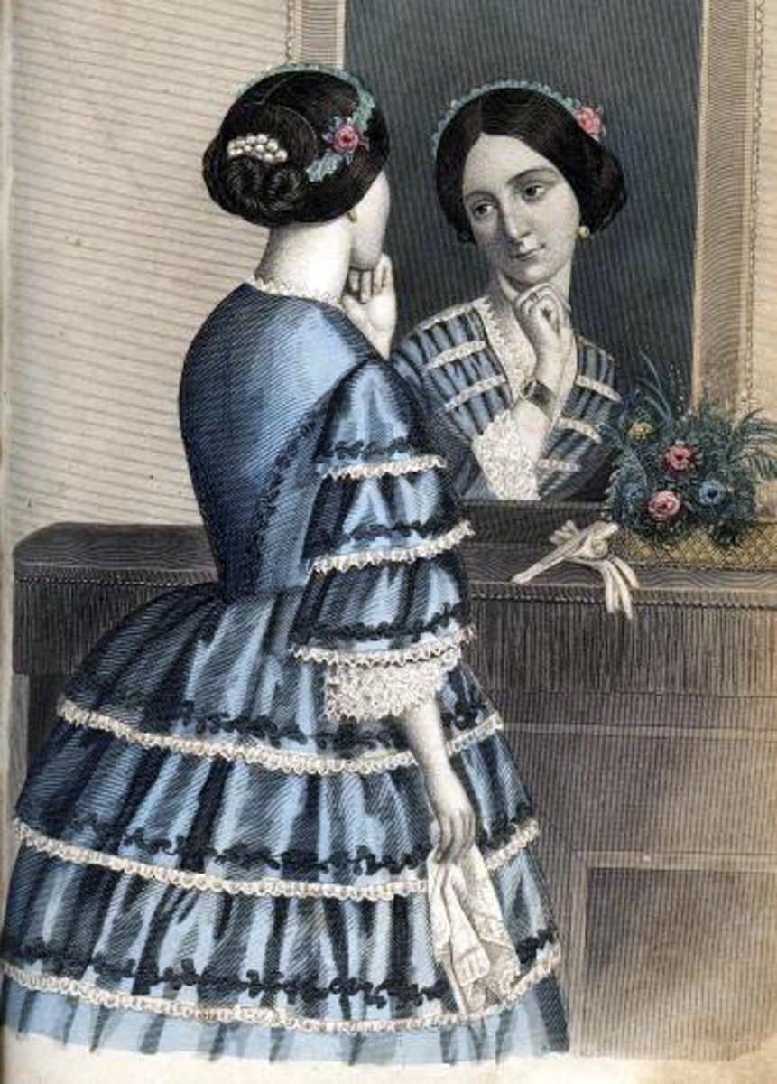 1856: Victorian blue tiered dress
