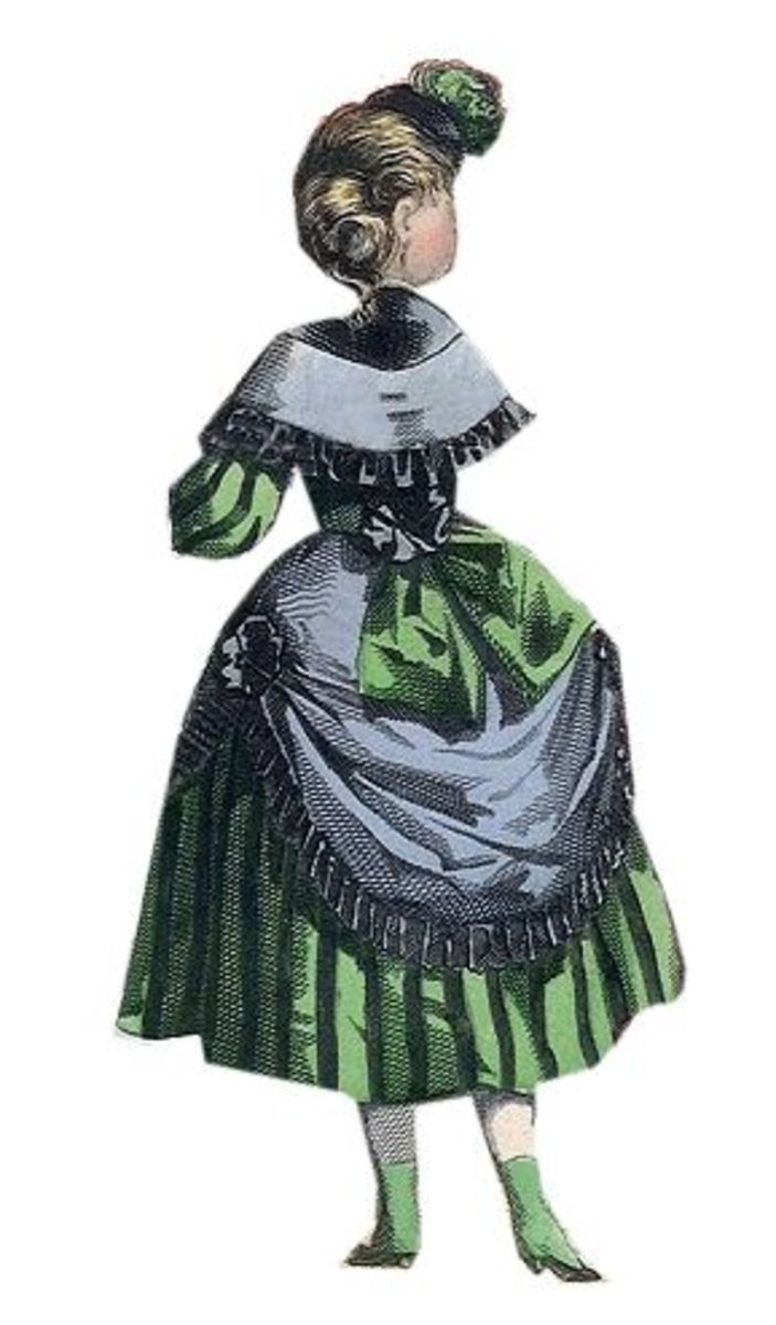 1869: Lindsay Victorian dress with green bow