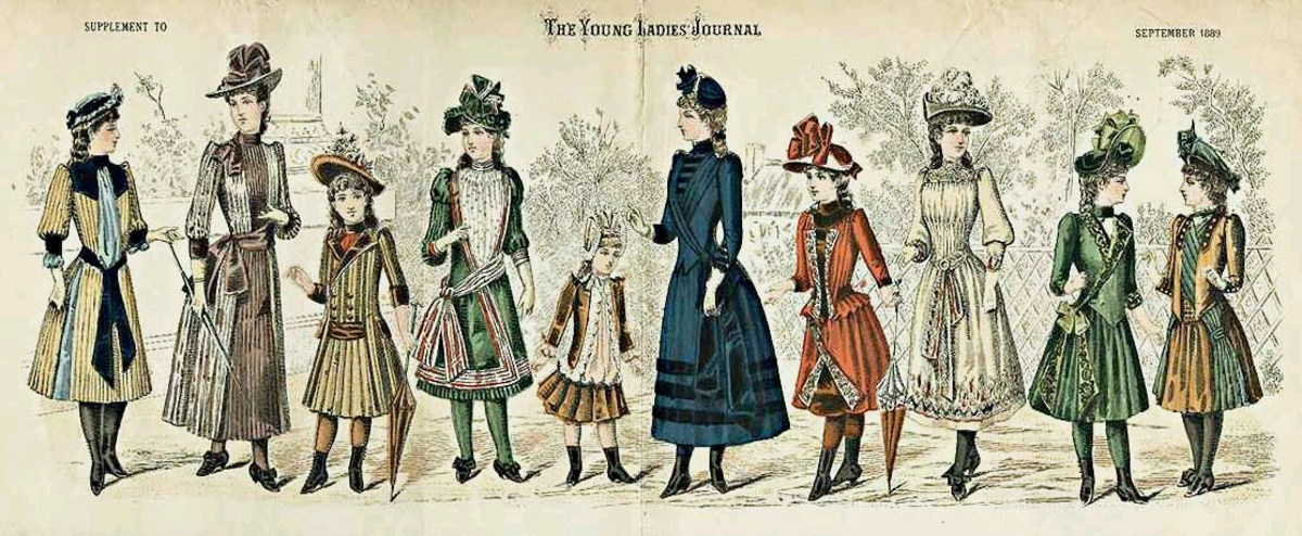 September 1869: Assorted Victorian womens and girls fashions from The Young Ladies' Journal
