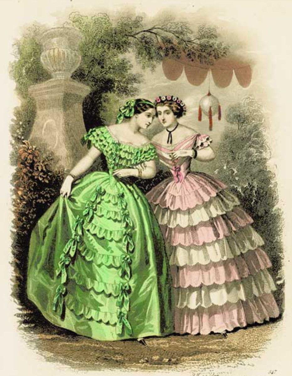 1878: Victorian silk ball gowns for summer