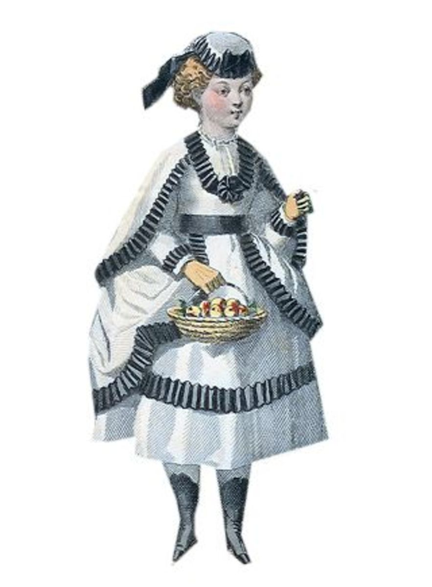 1869: Lindsay Victorian white dress with black pleated trim