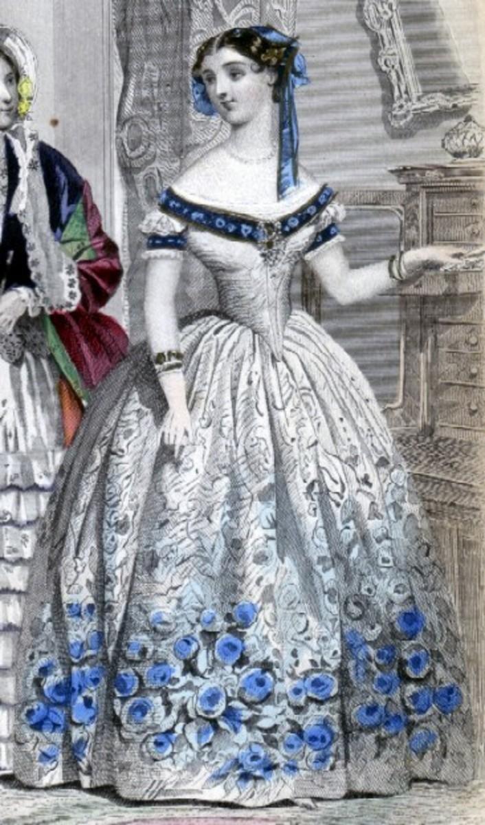 1854: vestido vitoriano, com canteiros de flores azuis