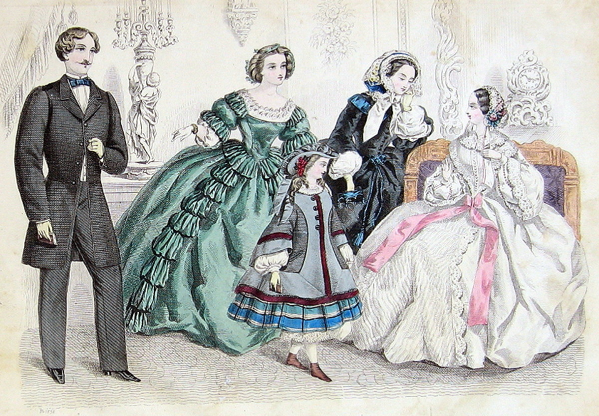 1858: Mens, womens and little girl Victorian fashions