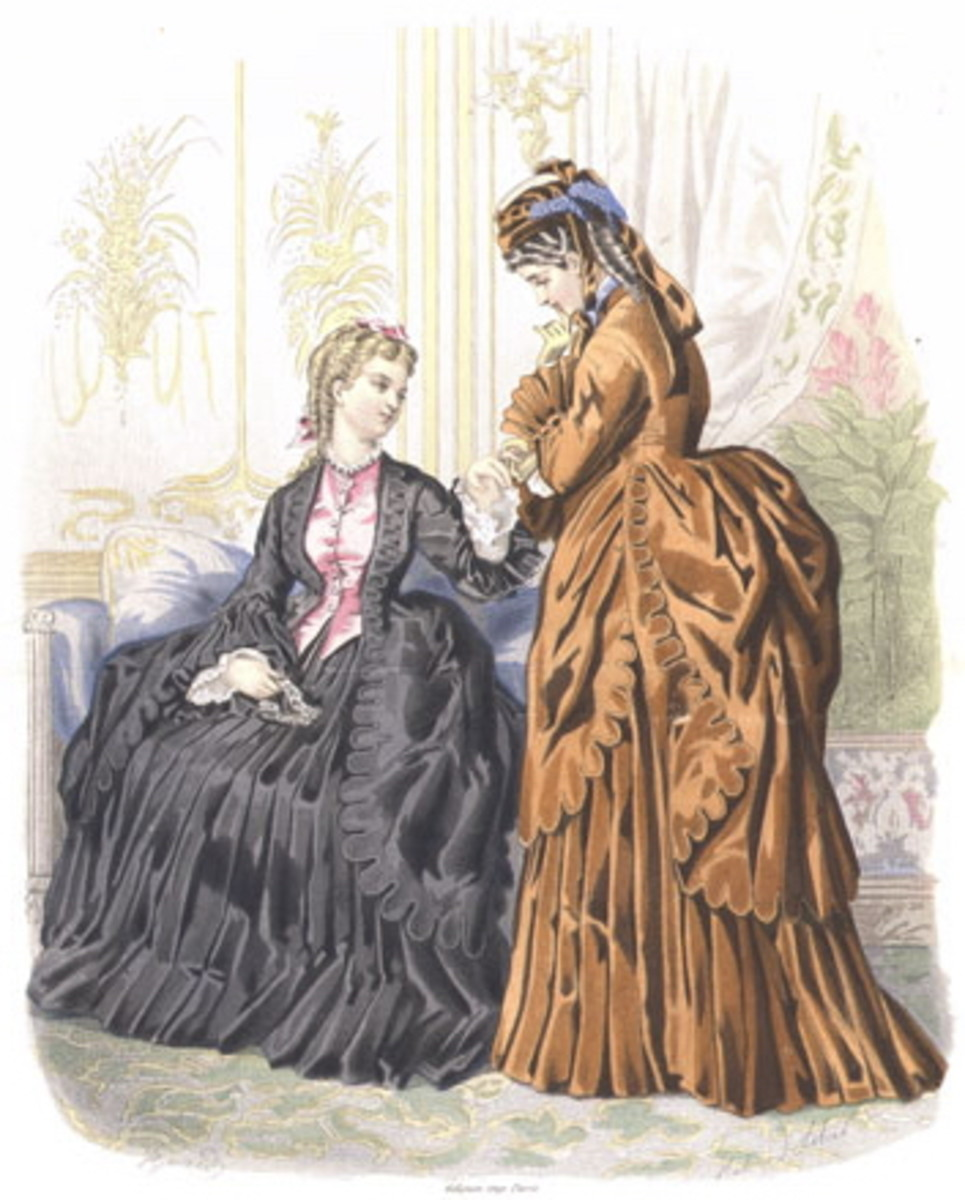 1872: Victorian womens fashions in black and brown
