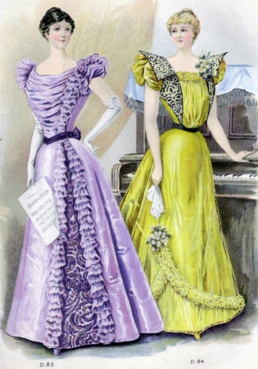 Spring 1897: lavender and yellow Victorian dresses