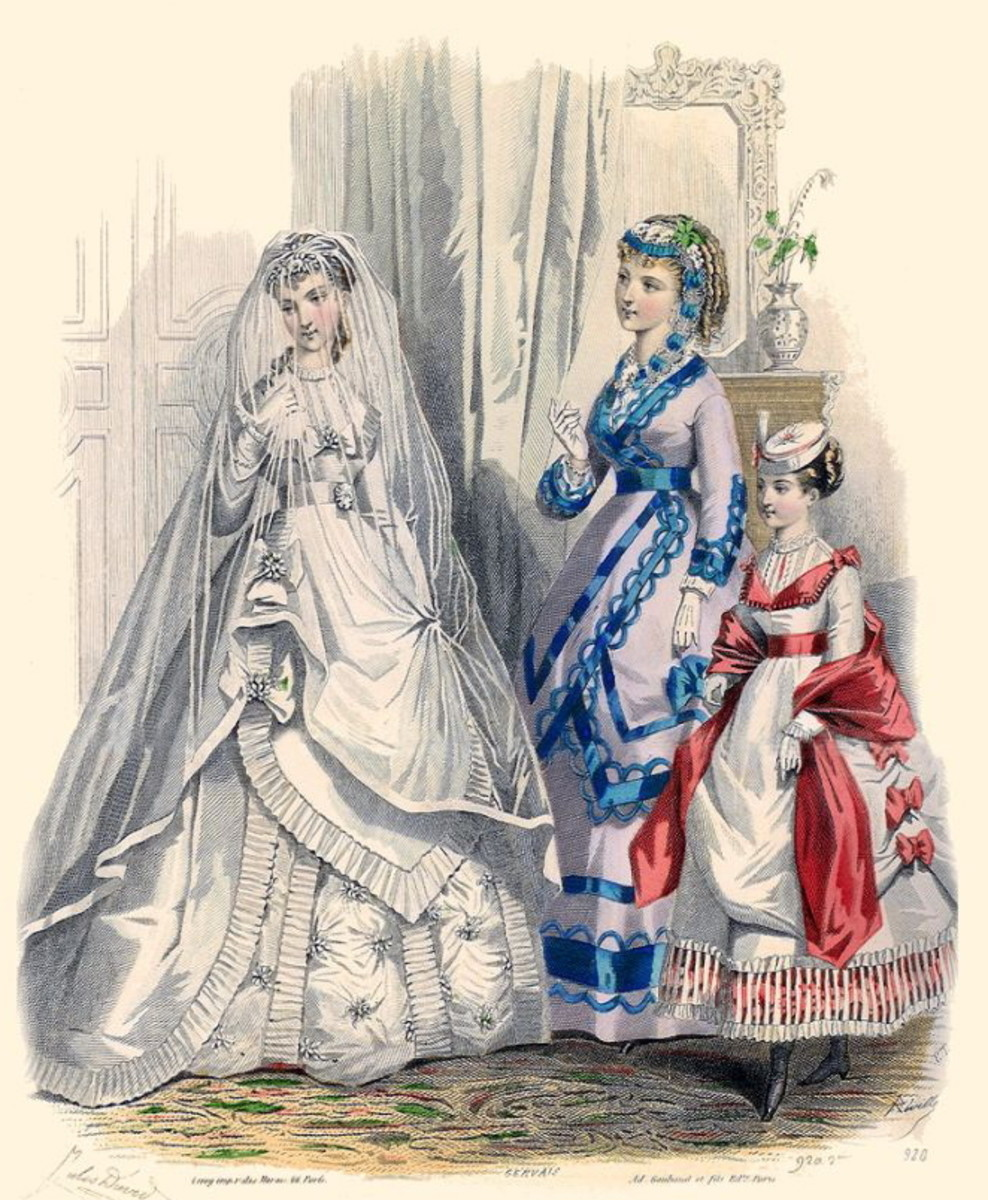 1869: Victorian bridal dress in white with attendants in blue and red