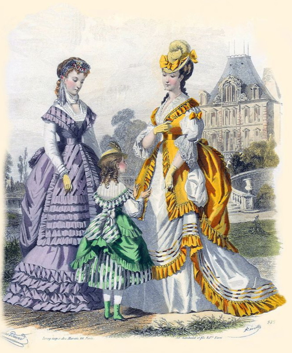 1869: Victorian womens and girls dress fashions