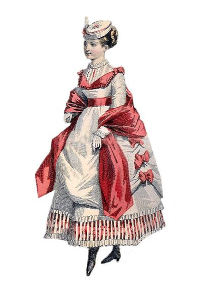 1869: Lindsay Victorian white dress with red trim and stripes