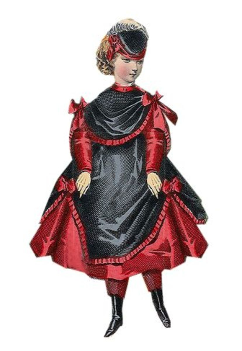 1869: Lindsay Victorian red  dress with black trim