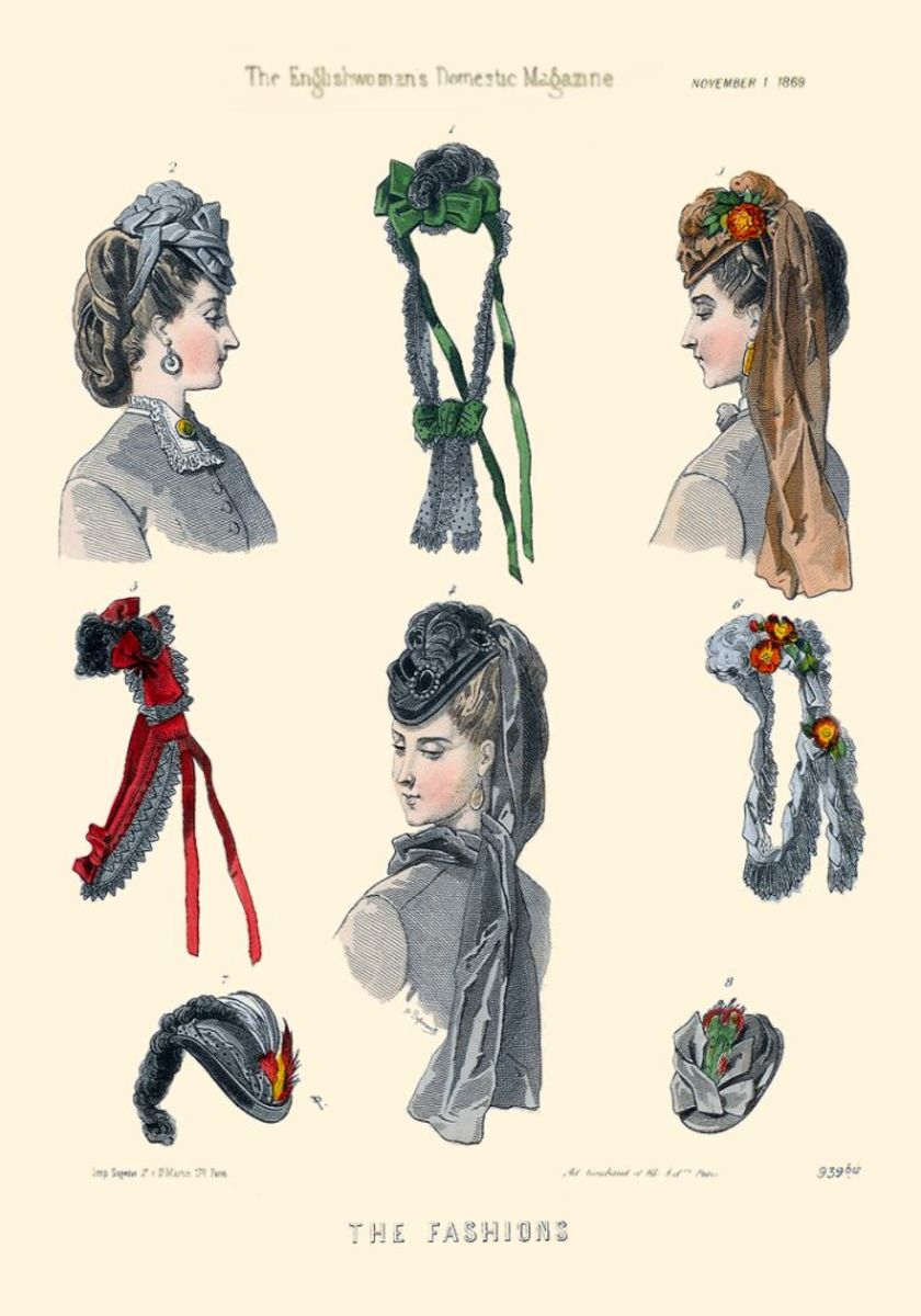 November 1869: Assorted Victorian bonnets and hats from Englishwoman's Domestic Magazine
