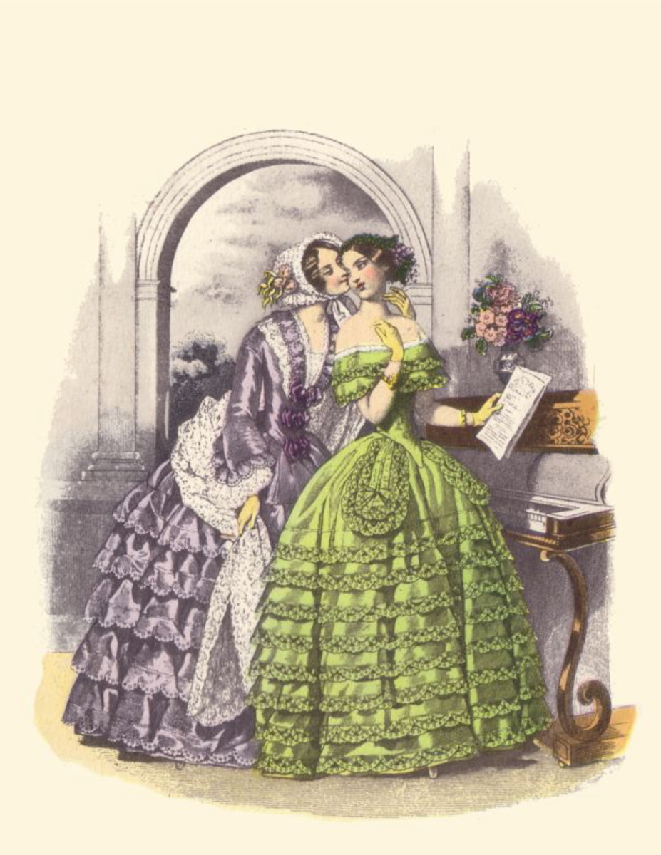 1850: Tiered Victorian dresses in lavender and green