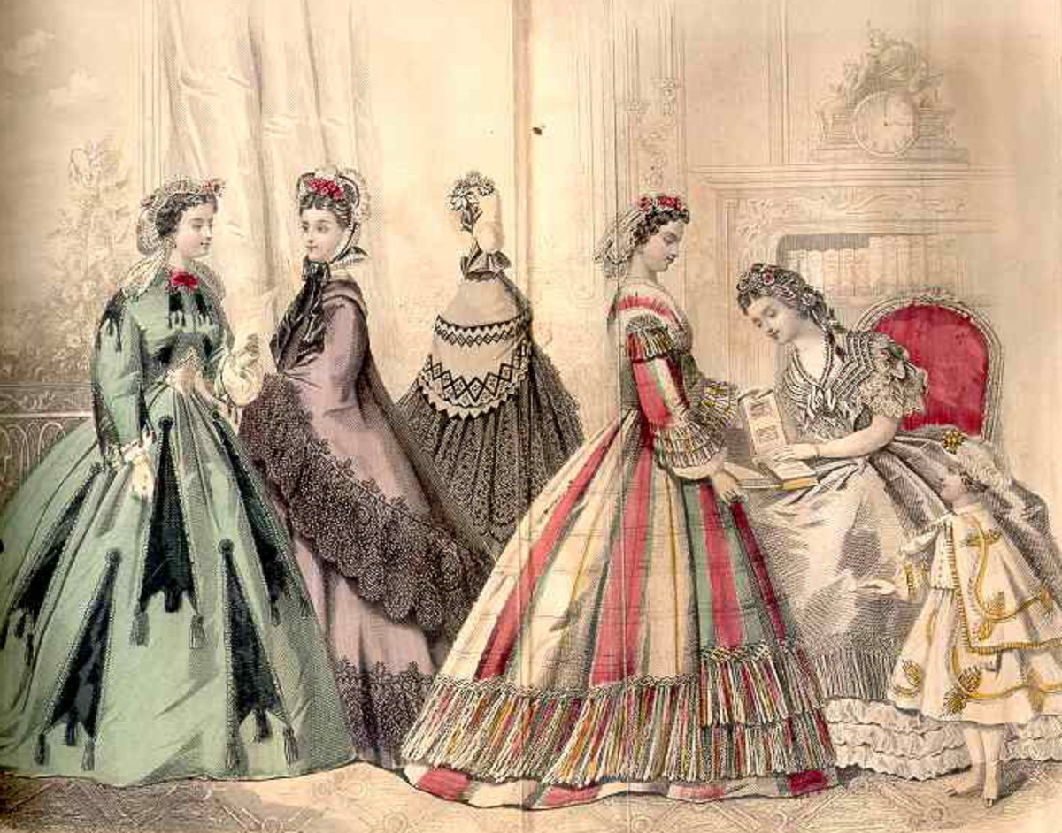 July 1864: Victorian womens and girls dress fashions
