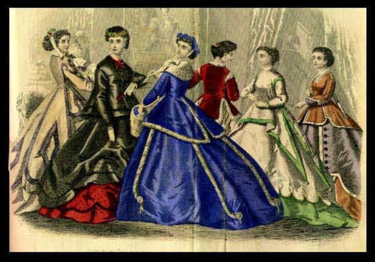 1867: assorted Victorian womens dresses from Godeys