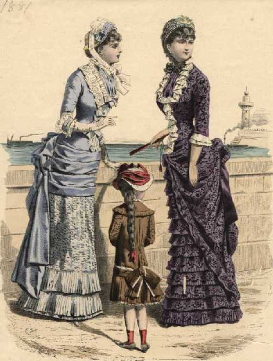 1881: Womens Victorian seaside fashions